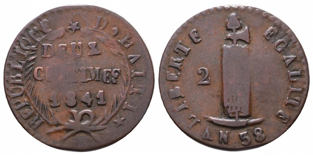 Haití. 2 centimes. 1841