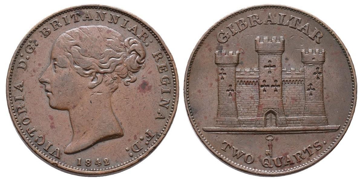 Gibraltar. 2 quartos. 1842 sobre 1