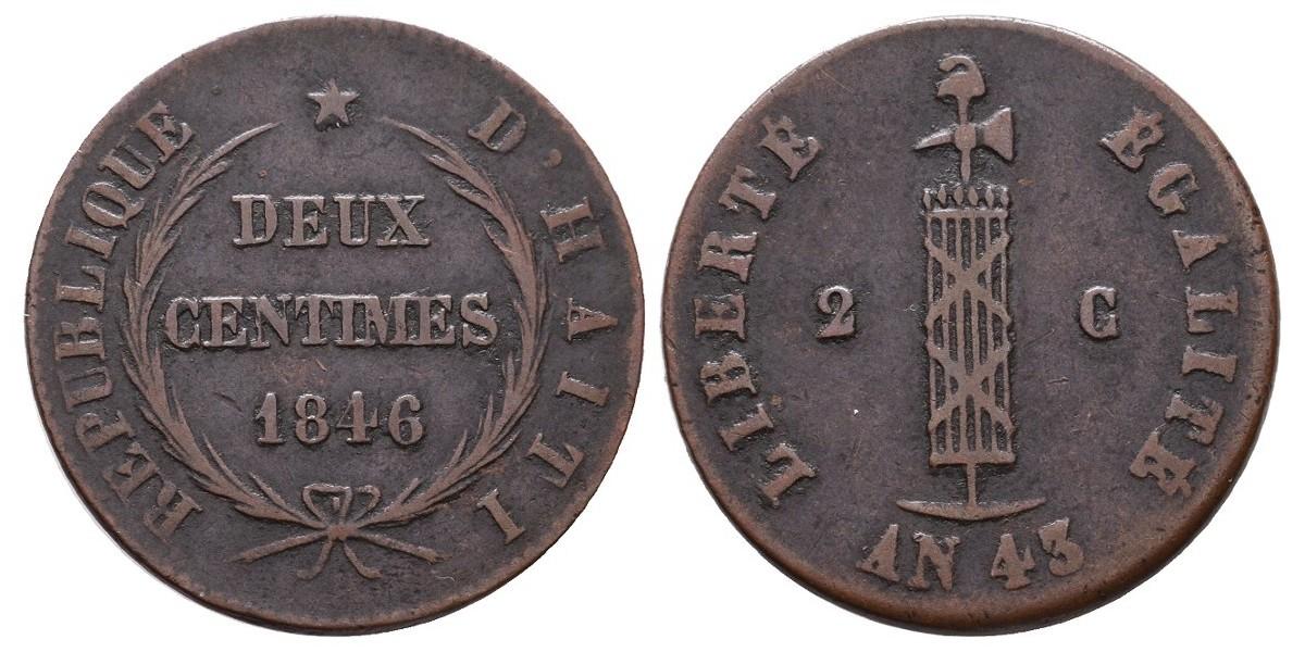 Haití. 2 centimes. 1846