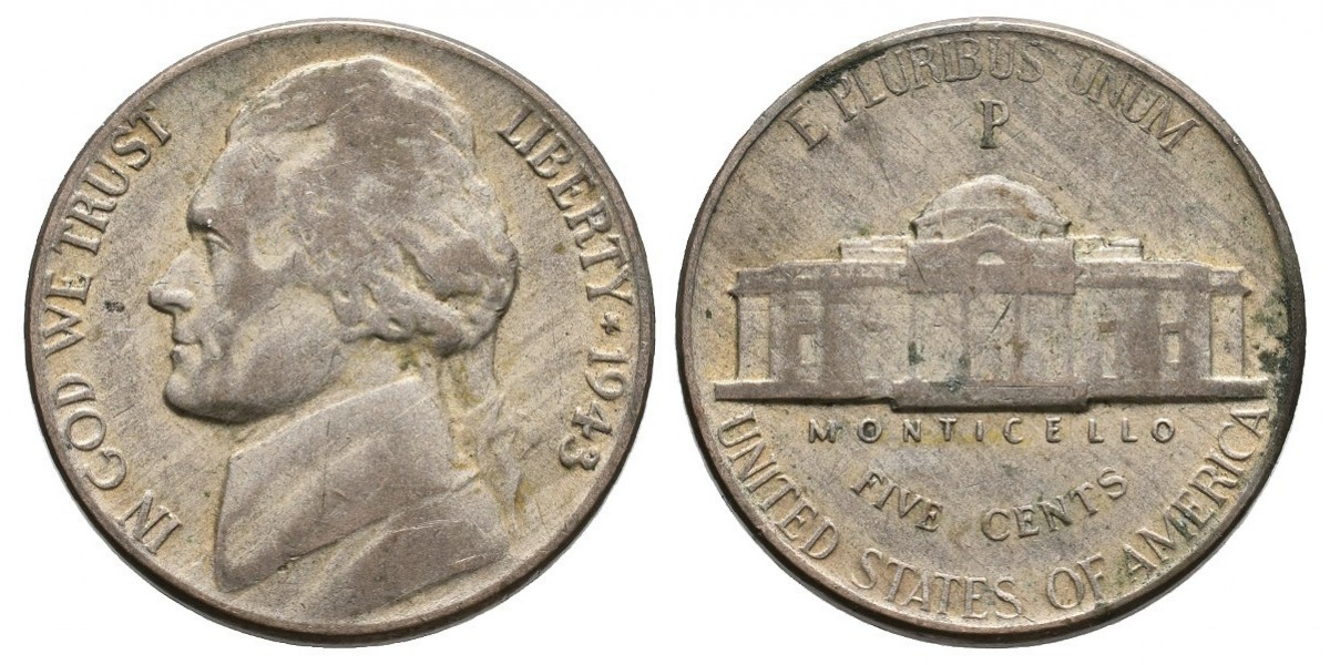 Estados Unidos. 5 cents. 1943 P