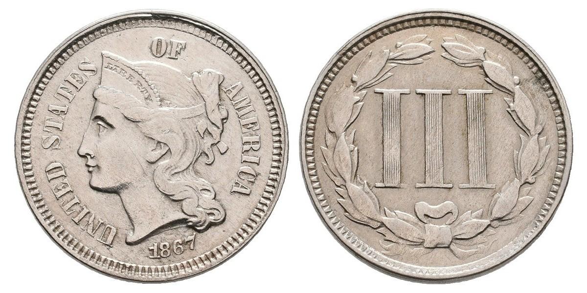 Estados Unidos. 3 cents. 1867