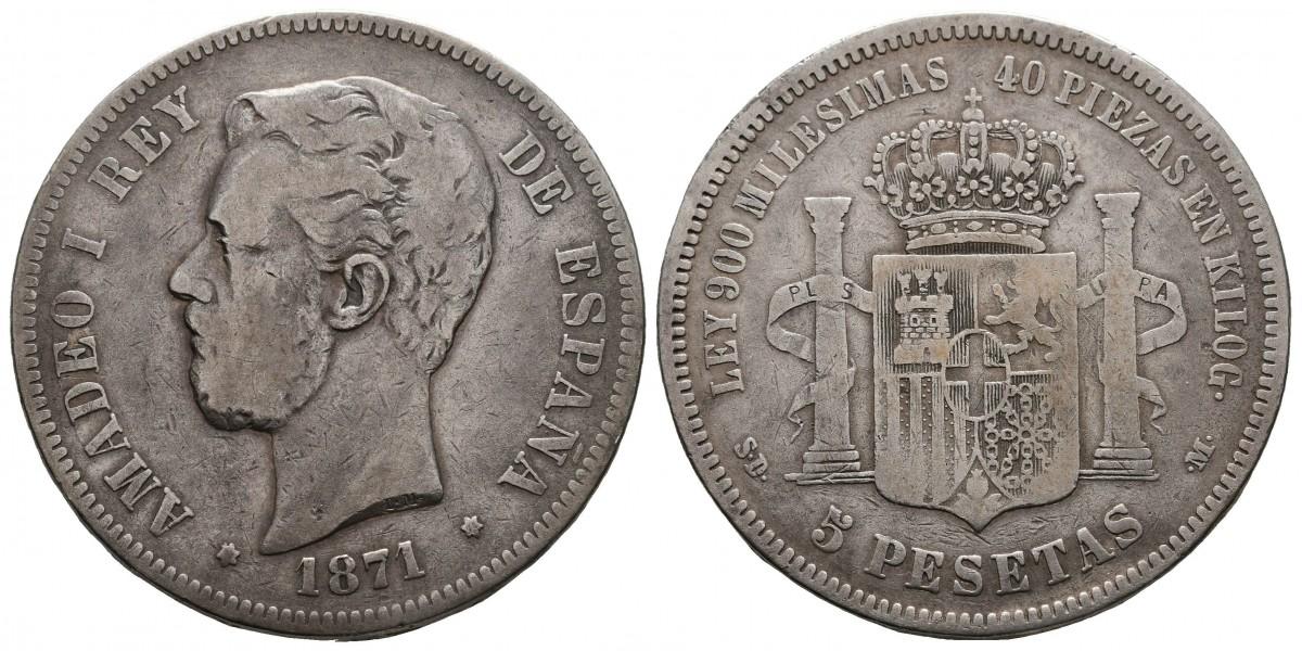 Amadeo I. 5 pesetas. 1871. Madrid