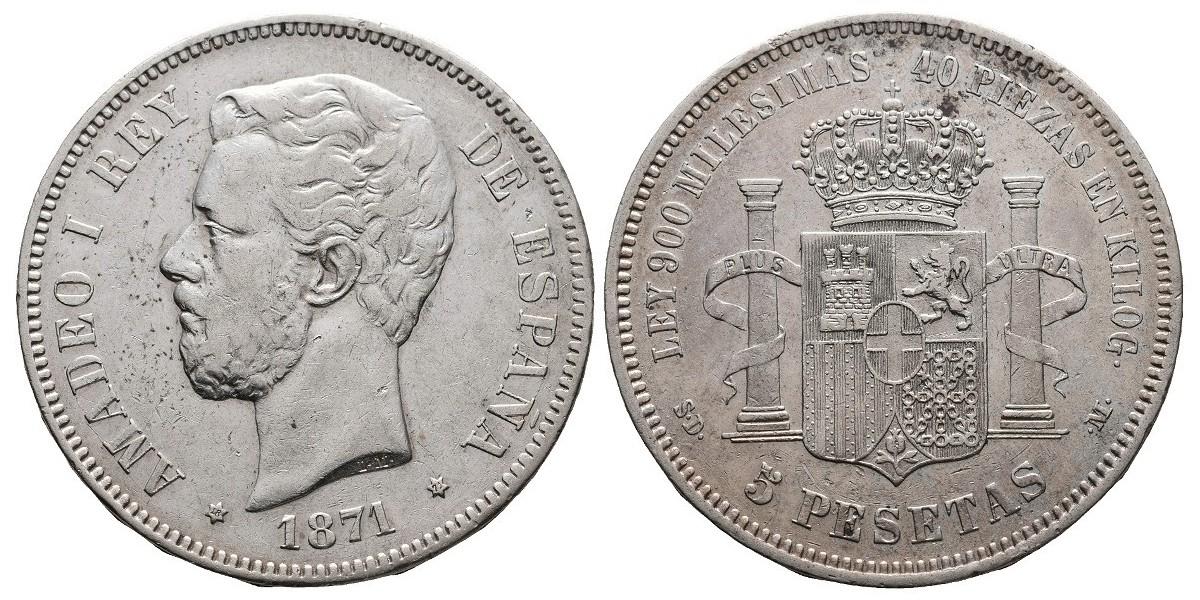 Amadeo I. 5 pesetas. 1871*18-71. Madrid