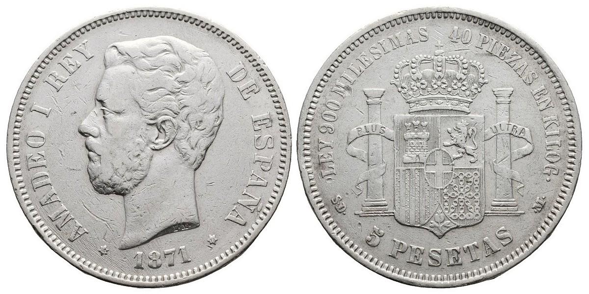 Amadeo I. 5 pesetas. 1871*-71. Madrid