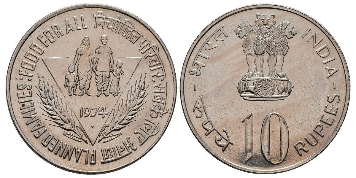 India. 10 rupees. 1974