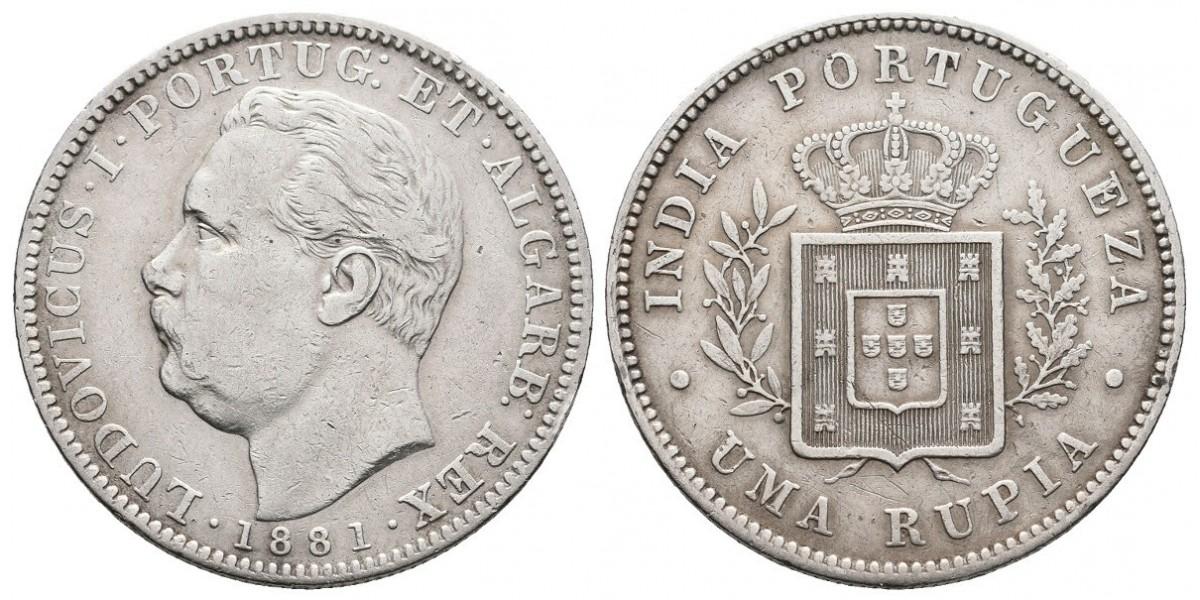 India Portuguesa. 1 rupia. 1881