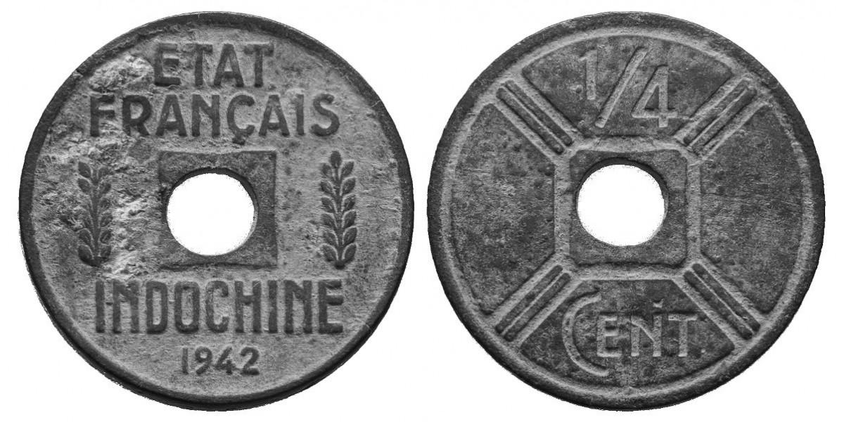 Indo China. 1/4 cent. 1942