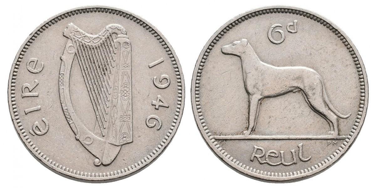Irlanda. 6 pence. 1946
