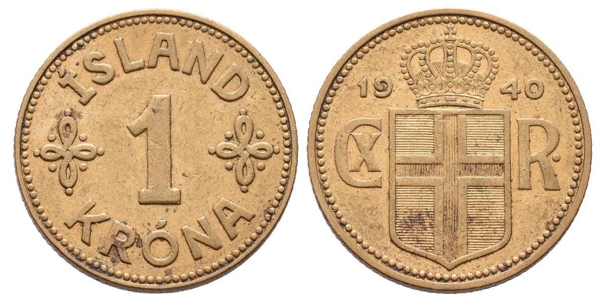 Islandia. 1 krona. 1940