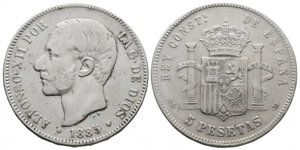 Alfonso XII. 5 pesetas. 1885*-87. Madrid