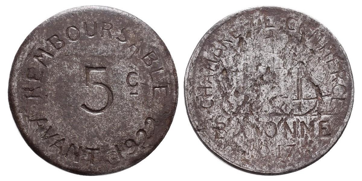 Francia. 5 centimes. 1917