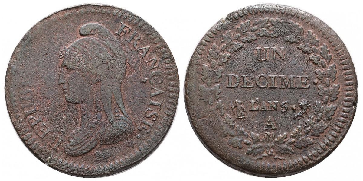 Francia. 1 decime. Año 5 A