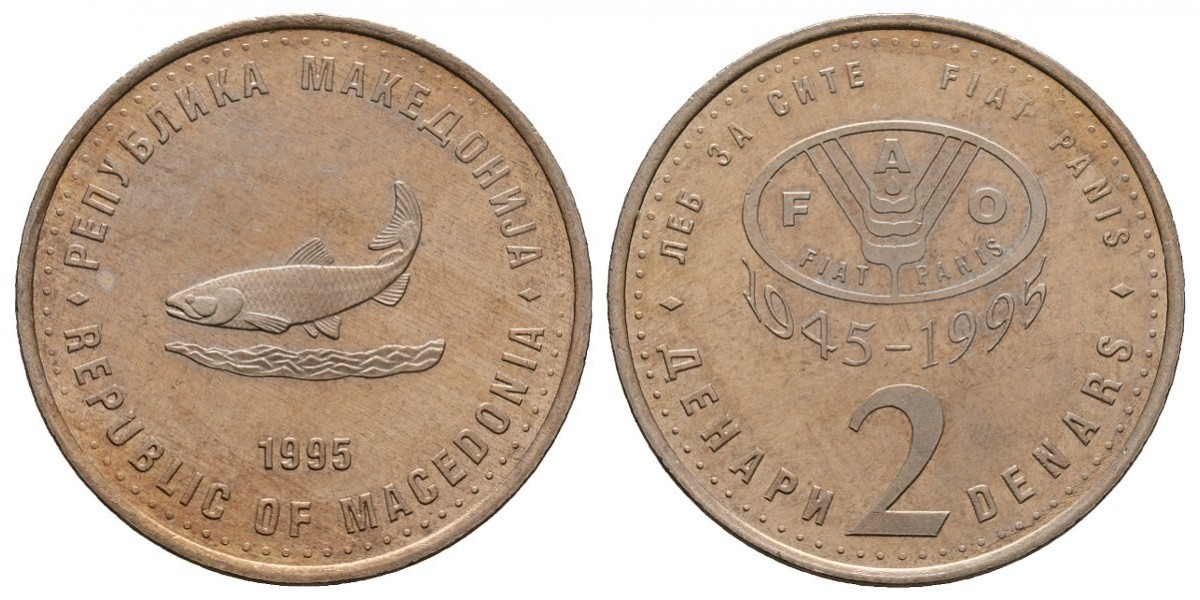 Macedonia. 2 denari. 1995