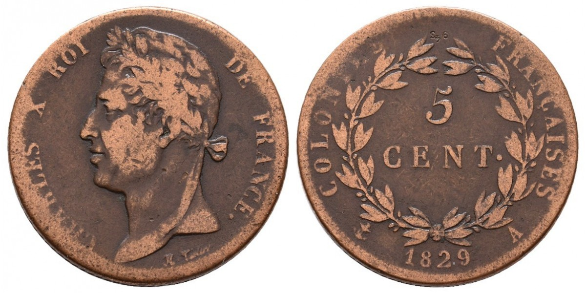 Martinica y Guadalupe. 5 cents. 1829 A