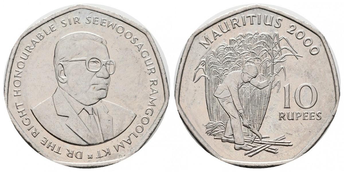 Mauricio. 10 rupee. 2000