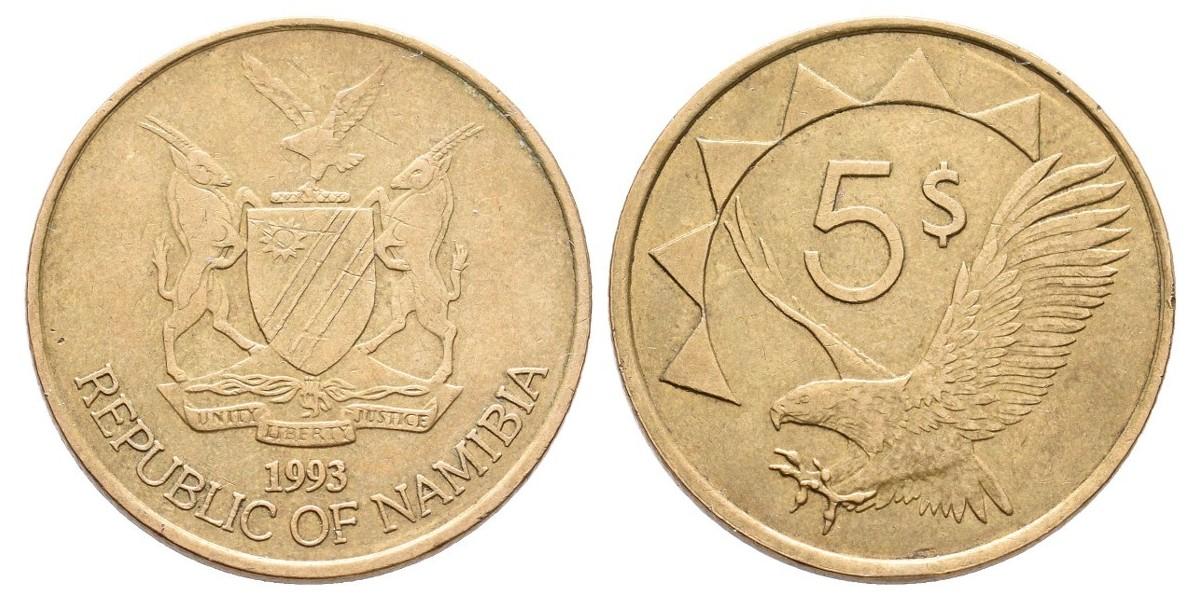 Namibia. 5 dollars. 1993