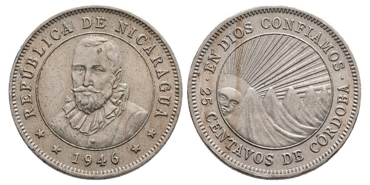 Nicaragua. 25 centavos. 1946