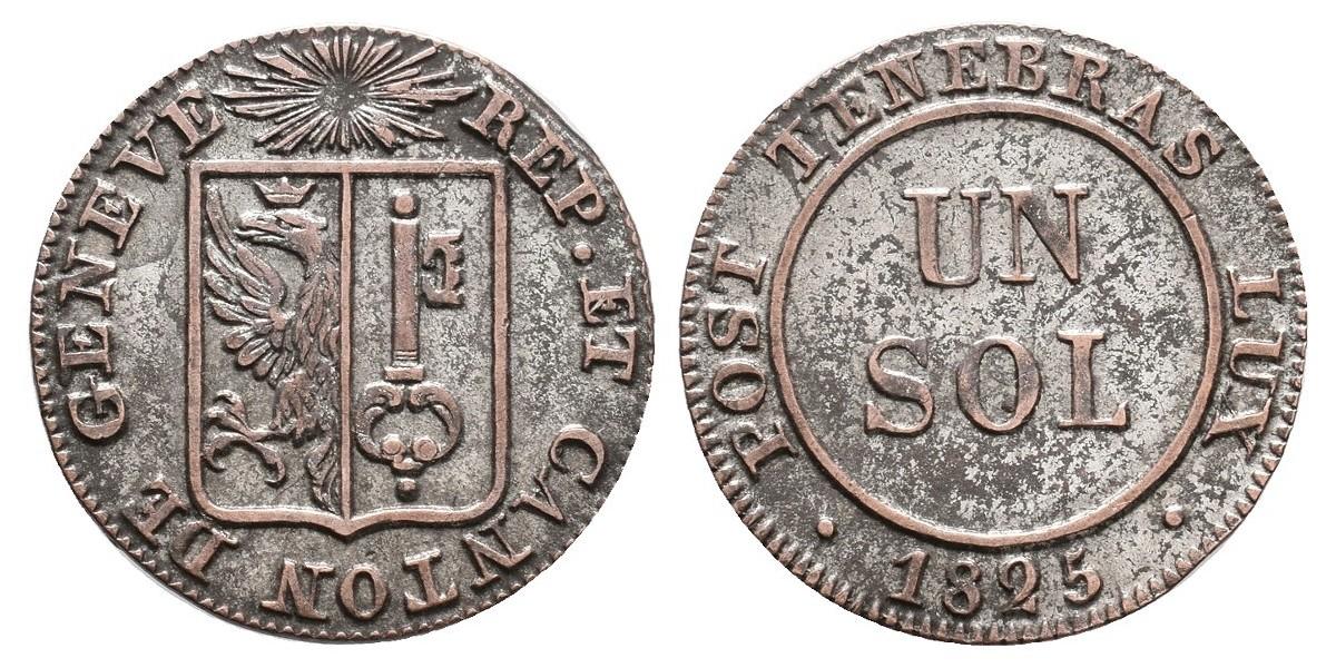 Suiza. 1 sol. 1825. Ginebra