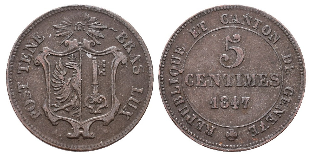 Suiza. 5 centimes. 1847. Ginebra