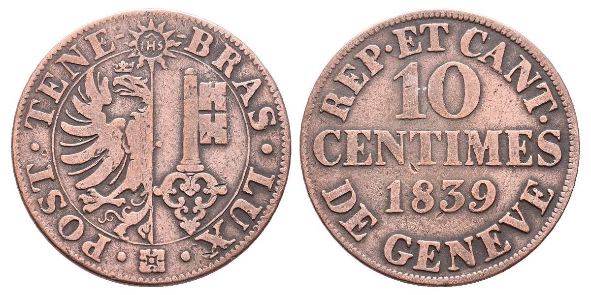 Suiza. 10 centimes. 1839. Ginebra