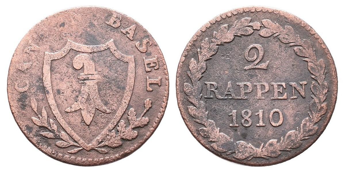 Suiza. 2 rappen. 1810. Basel