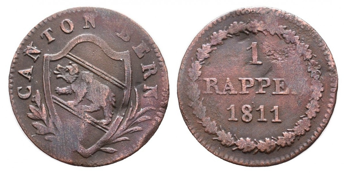 Suiza. 1 rappen. 1811. Berna