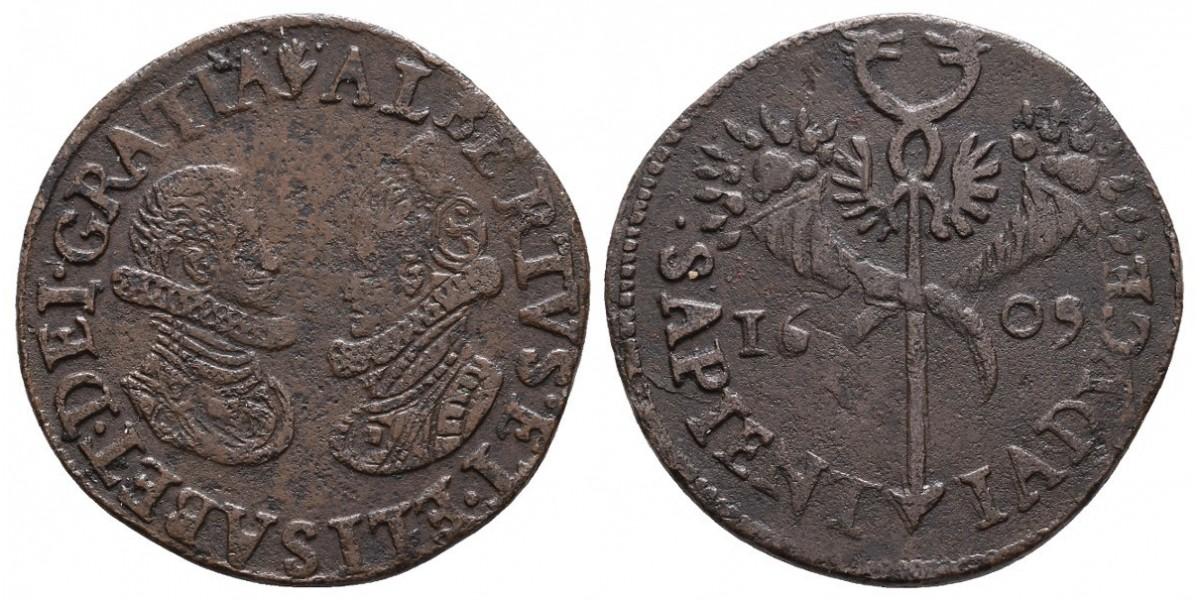 Alberto e Isabel. Jetón. 1609. Amberes