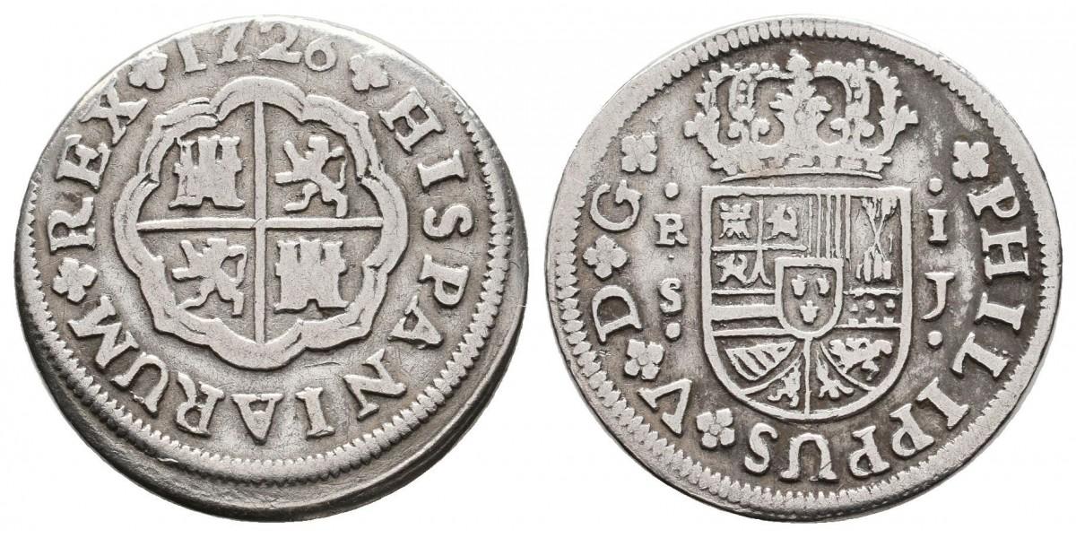 Felipe V. 1 real. 1726 J. Sevilla
