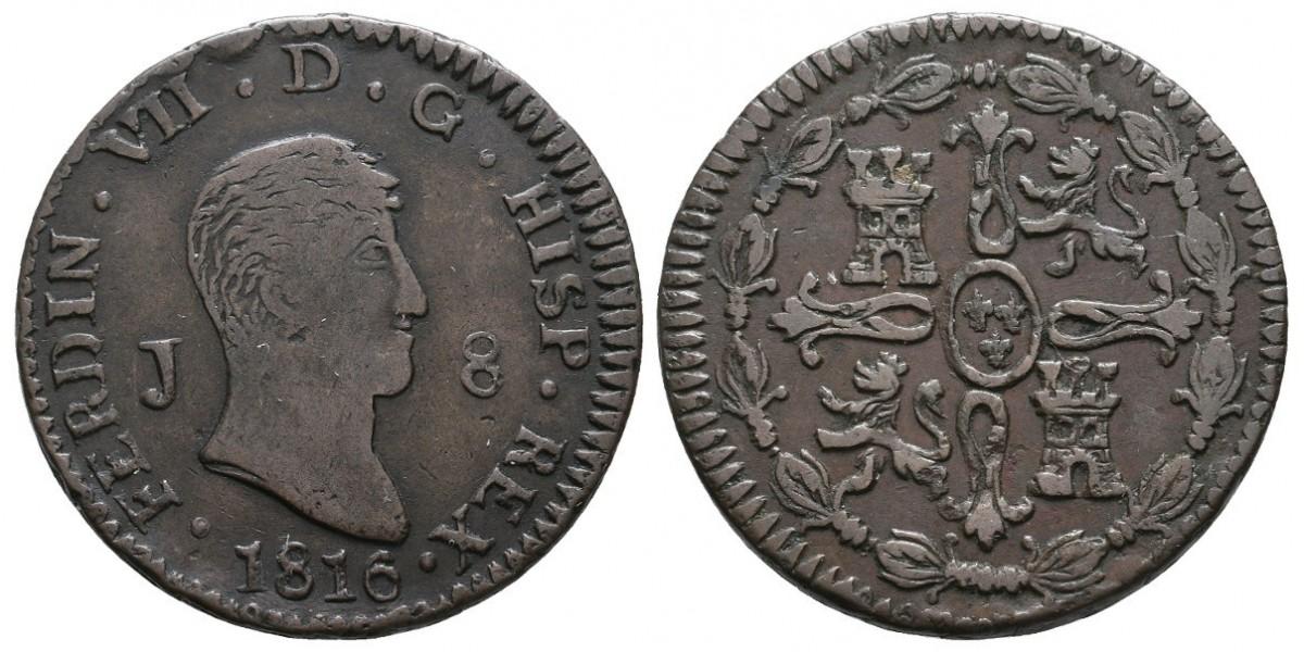Fernando VII. 8 maravedís. 1816. Jubia