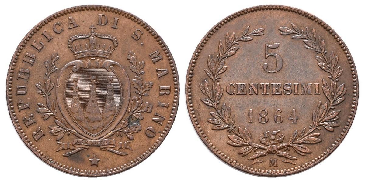 San Marino. 5 centesimi. 1864