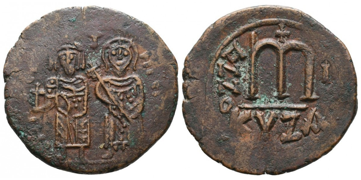 Focas y Leontia. Follis. 602-610 d.C.. Cyzicus