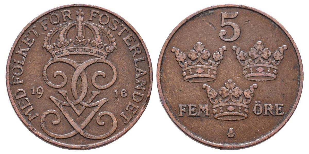 Suecia. 5 ore. 1916