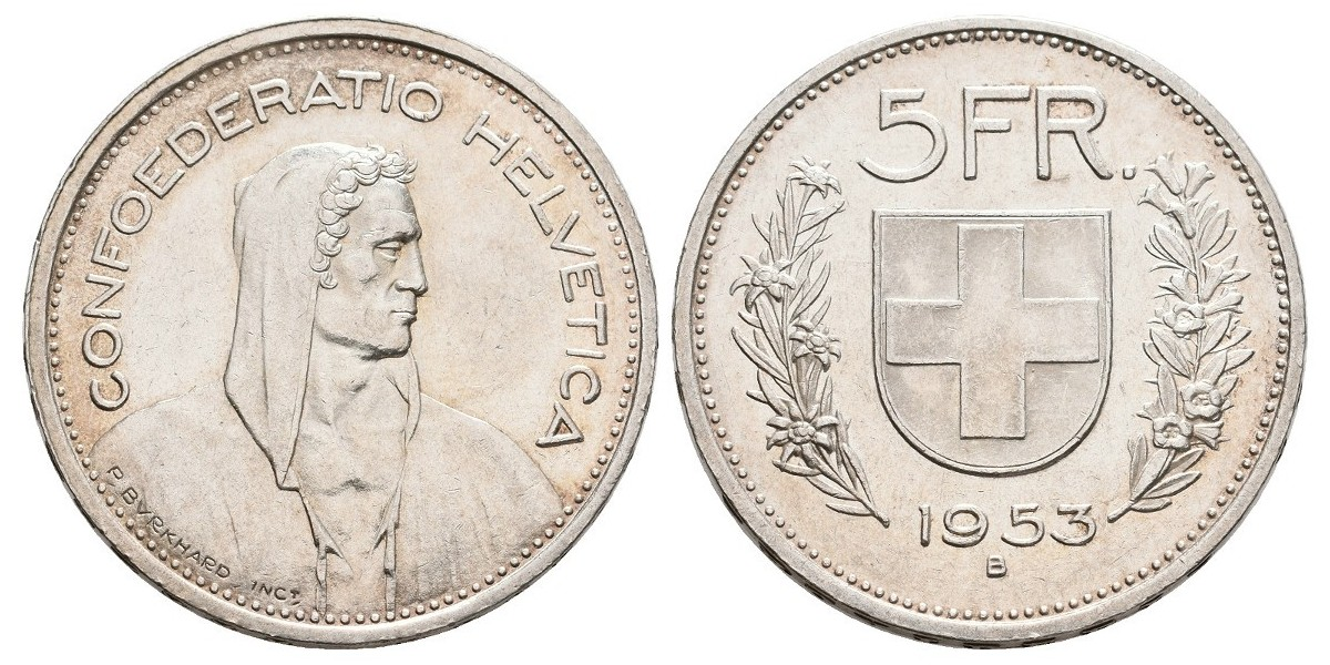 Suiza. 5 francs. 1953
