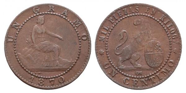 Gobierno provisional. 1 céntimo. 1870. Barcelona