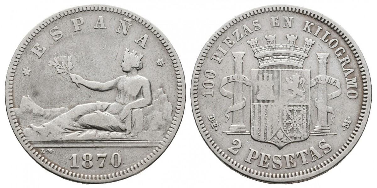 Gobierno Provisional y I Rep.. 2 pesetas. 1870*-73. Madrid