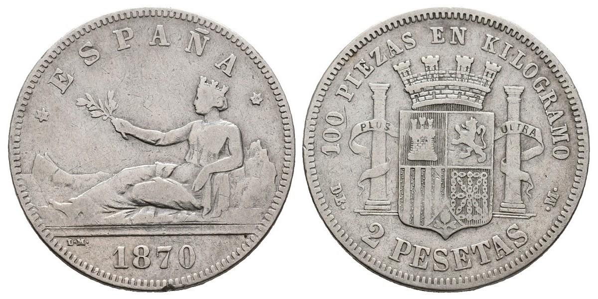 Gobierno Provisional y I Rep.. 2 pesetas. 1870*-74. Madrid