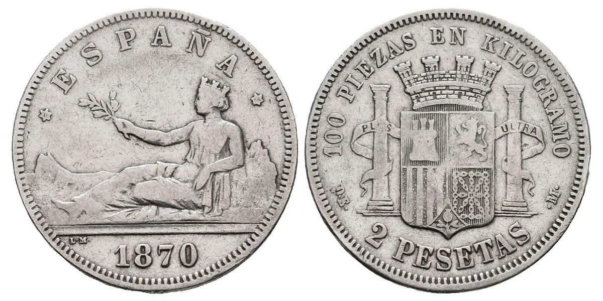Gobierno Provisional y I Rep.. 2 pesetas. 1870*18-74. Madrid