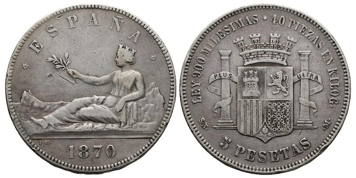 Gobierno Provisional y I Rep.. 5 pesetas. 1870*18-70. Madrid
