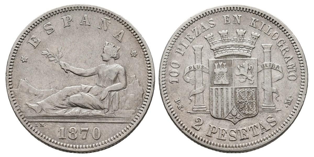 Gobierno Provisional y I Rep.. 2 pesetas. 1870*18-73. Madrid