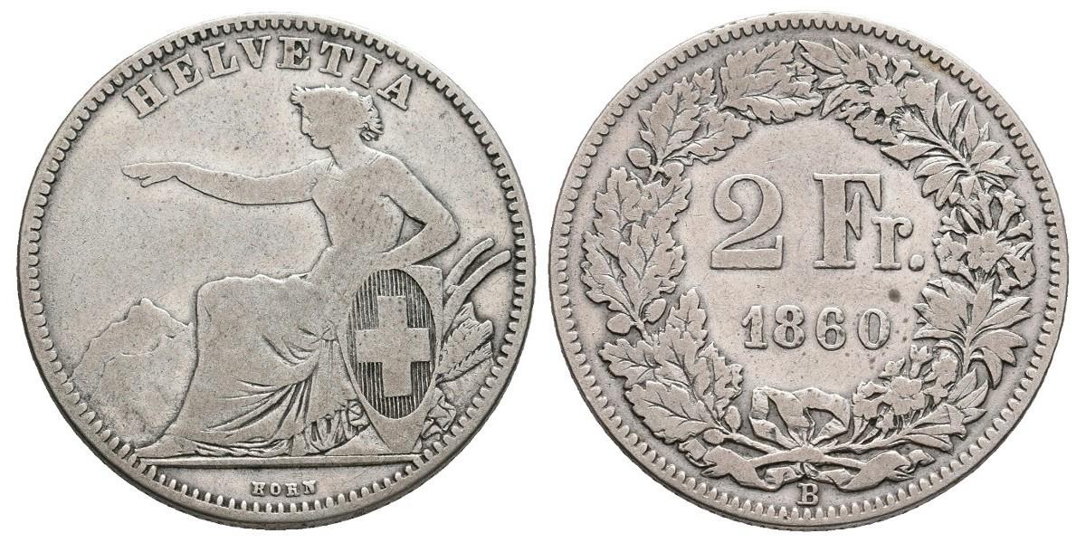 Suiza. 2 francs. 1860 B