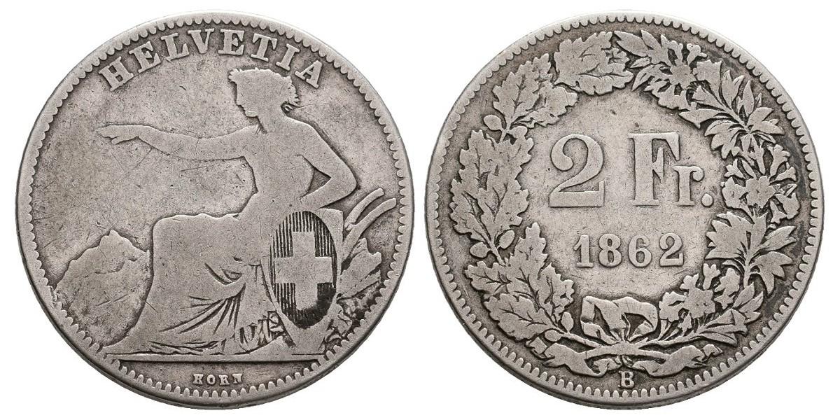 Suiza. 2 francs. 1862 B