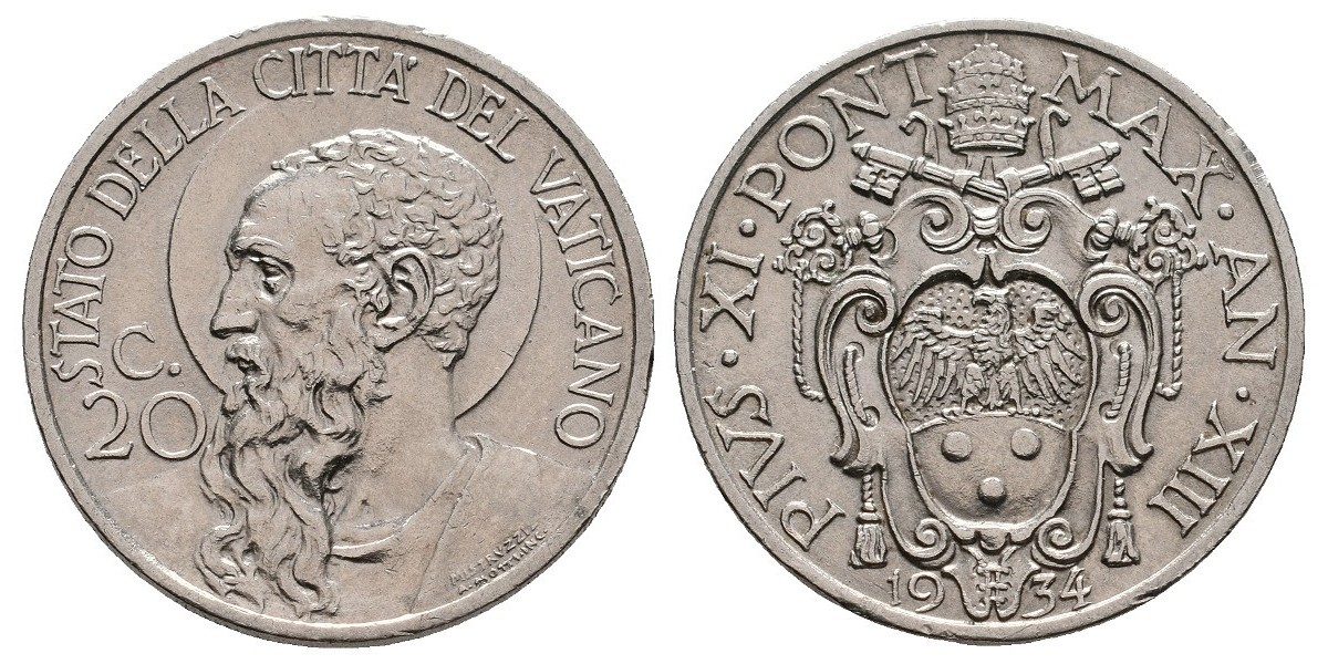 Vaticano. 20 centeismi. 1934