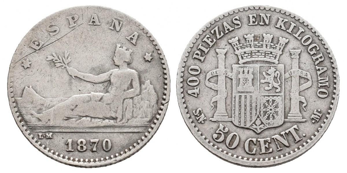 Gobierno Provisional y I Rep.. 50 céntimos. 1870. Madrid