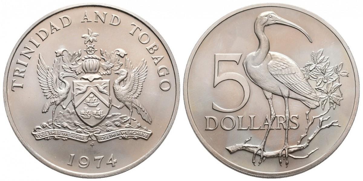 Trinidad y Tobago. 5 dollars. 1974