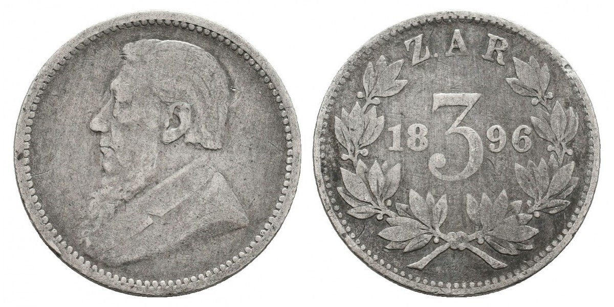 Zuid Africa. 3 pence. 1896