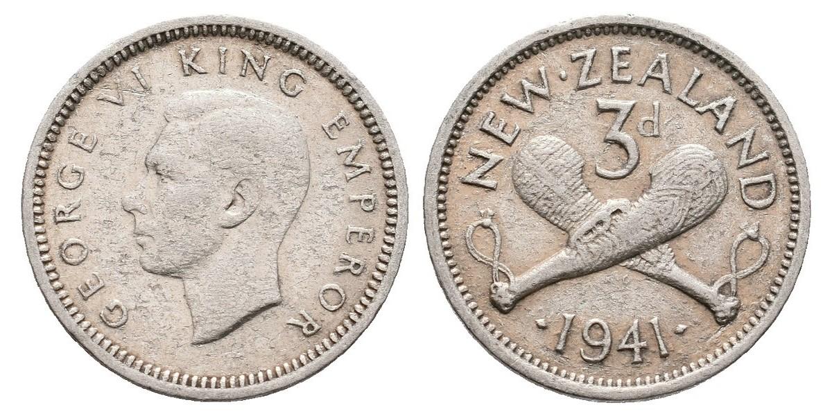 Nueva Zelanda. 3 pence. 1941