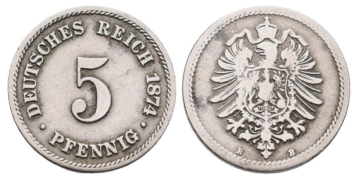 Alemania. 5 pfennig. 1874 B
