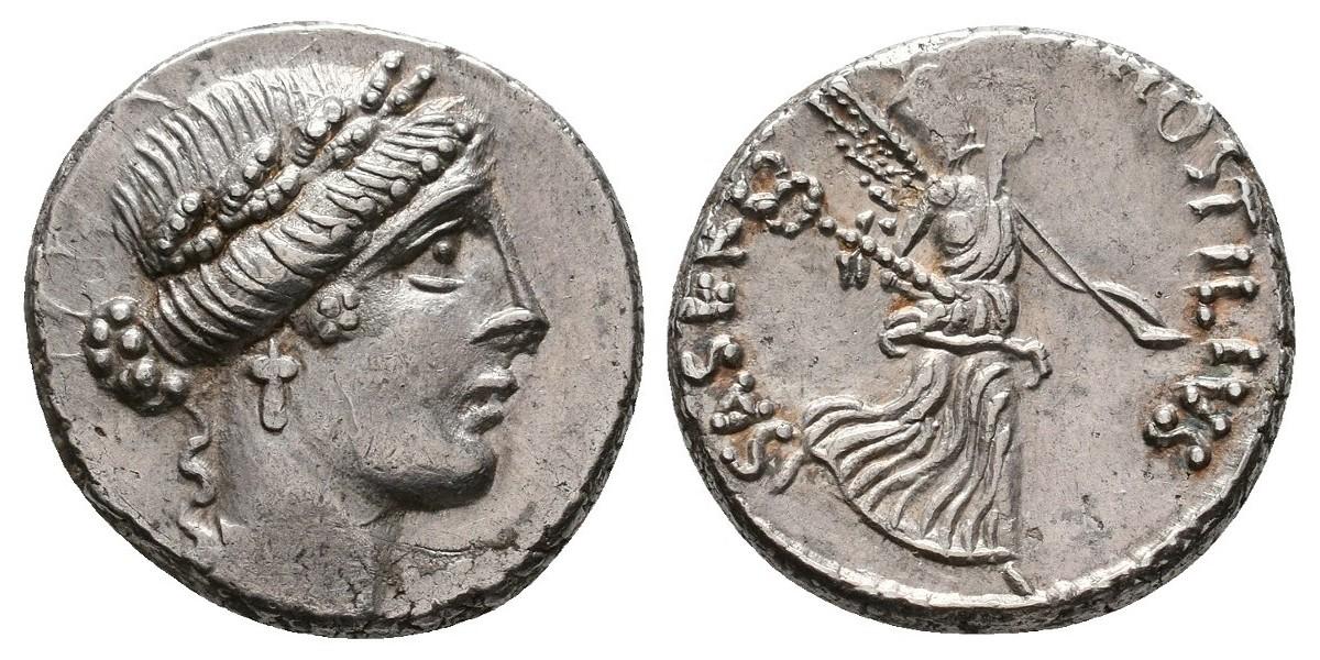 Hostilia. Denario. 48 a.C.. Roma