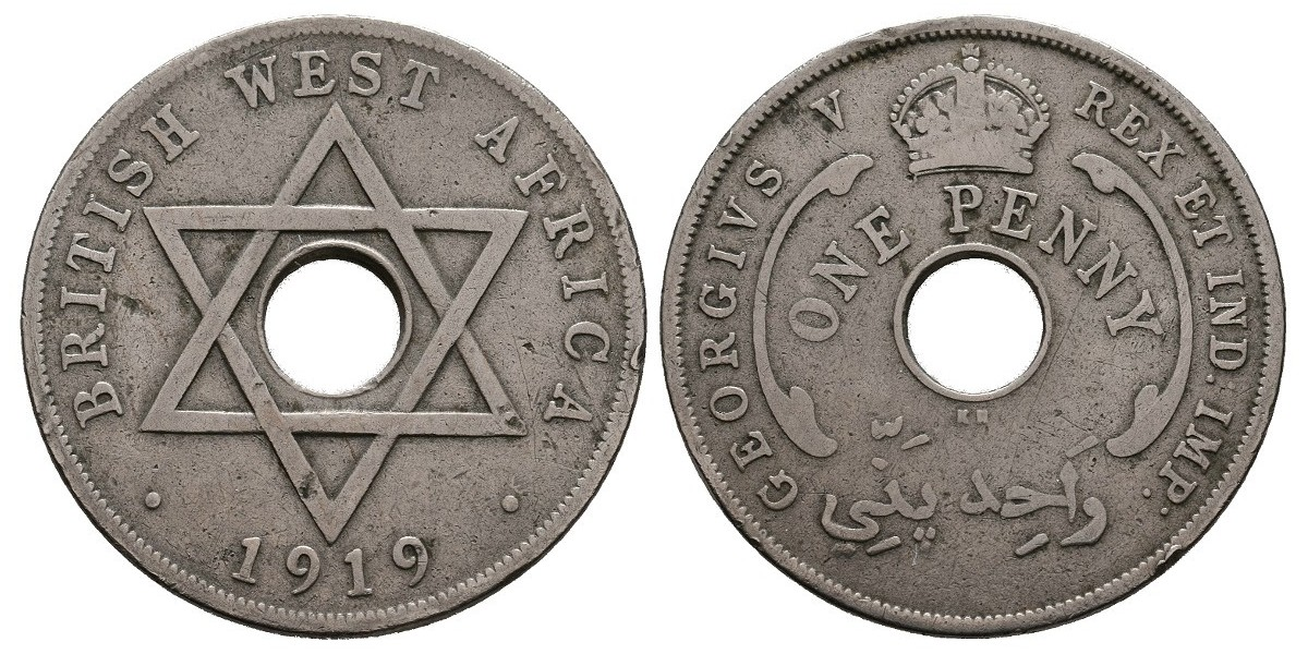 British West Africa. 1 penny. 1919 KN