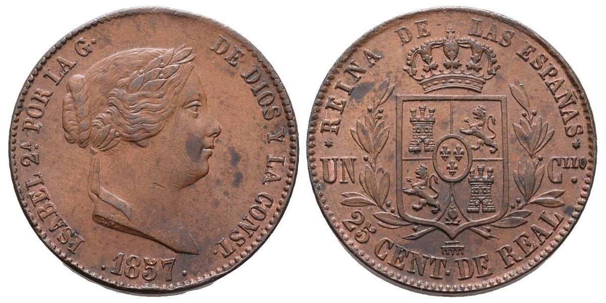 Isabel II. 25 céntimos de real. 1857. Segovia